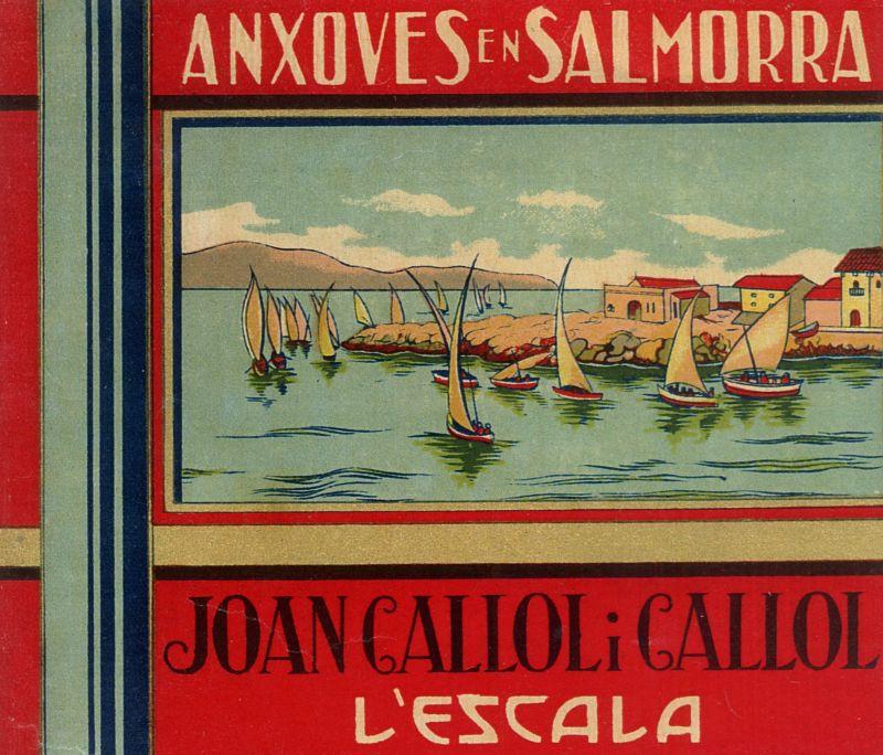 Etiqueta de paper imprès per als pots d'anxova de la fàbrica de Joan Callol i Callol de principi del s. XX.
