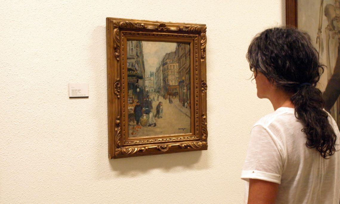 Joaquim Sunyer de Miró (Sitges 1874 – 1956). Rue du marché, c. 1902. Oleo sobre cartón. 41 x 33 cm.