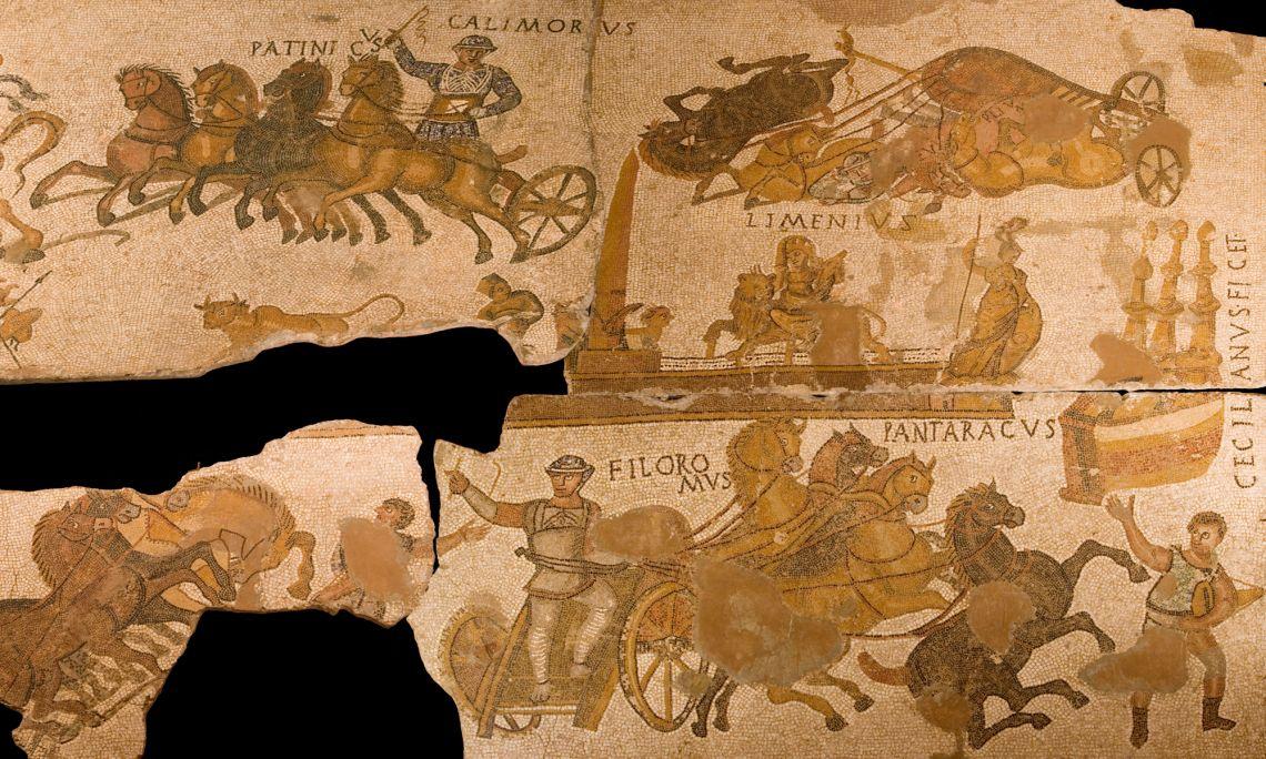 Mosaico pavimental de Can Pau Birol, Bell-lloc del Pla, Girona, 300 d. C. Opus tesselatum. 3,40 x 6,10 m.