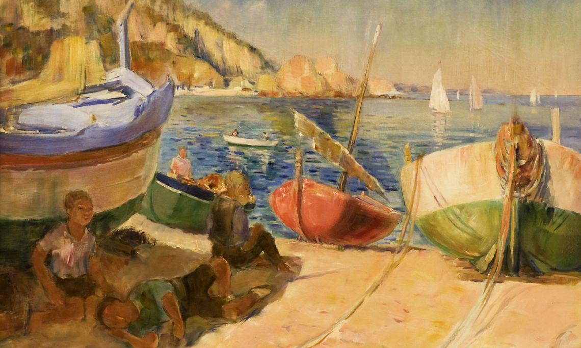 Barques varades, 1935. Rafael Benet (Terrassa, 1889 - Barcelona, 1979). Oli sobre tela.