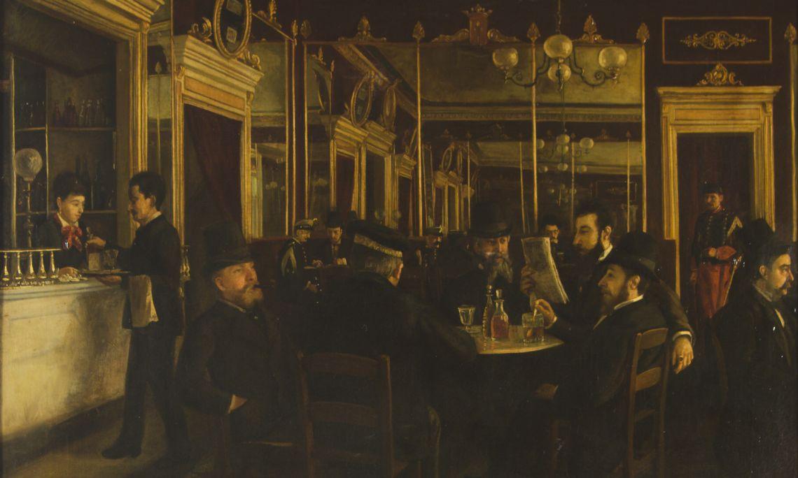 El cafè Vila, Jaume Pons Martí, 1877. Oli sobre tela, 85 x 68 cm. Museu d'Art de Girona - Fons d'Art Diputació de Girona.