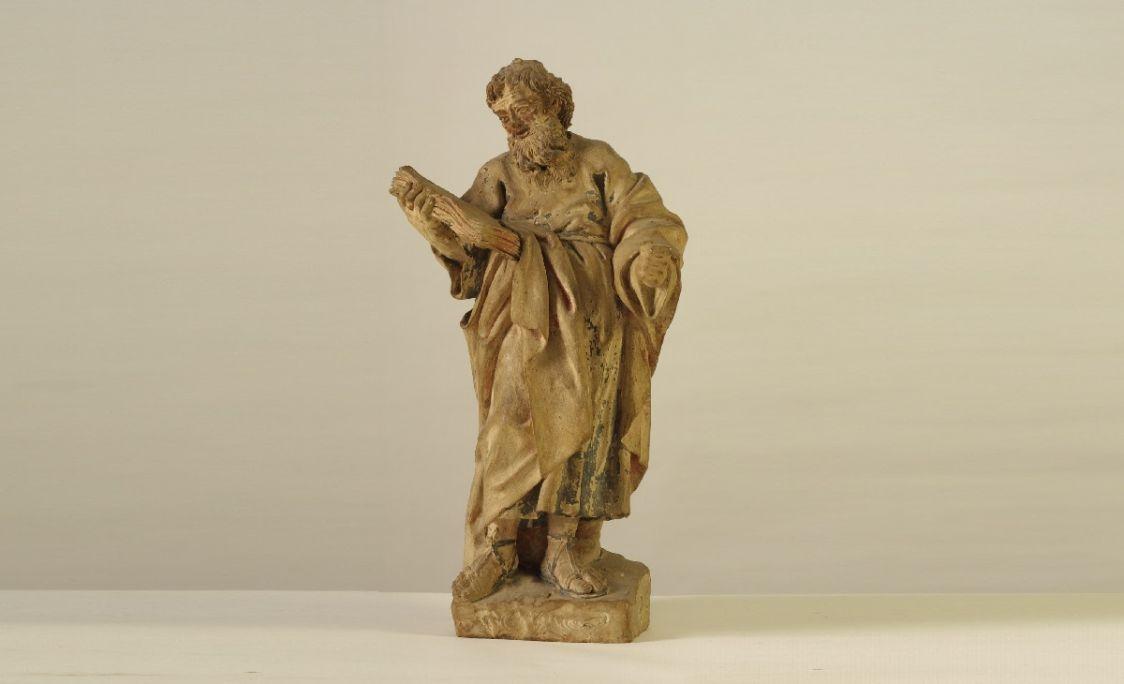 Escultura de sant Pau, obra de Jaume Padró realitzada en terracota policromada (1775-1803). MCC. Foto: Sebastià Caus.