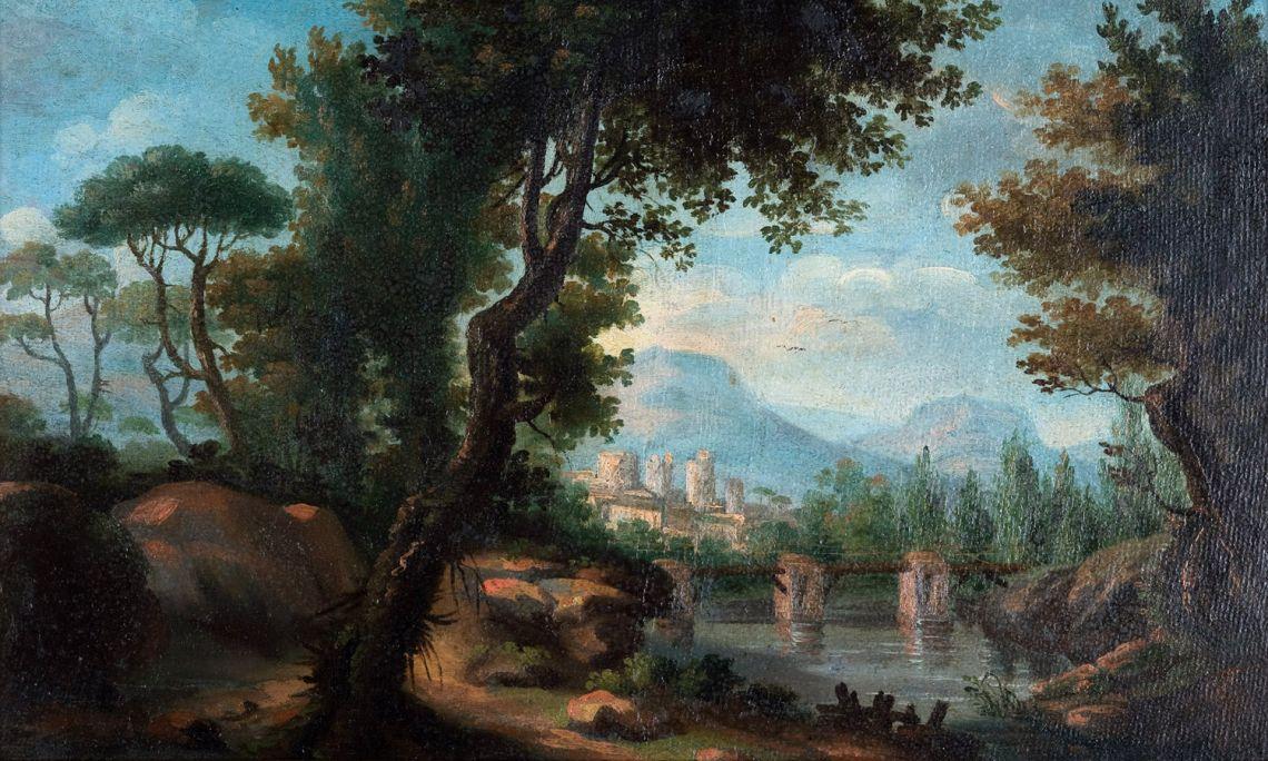 Sense títol (paisatge), Joan Carles Panyó i Figaró, 1802 i 1840. Oli sobre fusta.