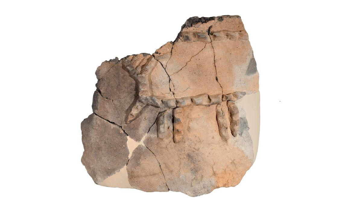 Fragment de tenalla procedent de Genó (Aitona) amb decoració esquemàtica d'un cérvol.