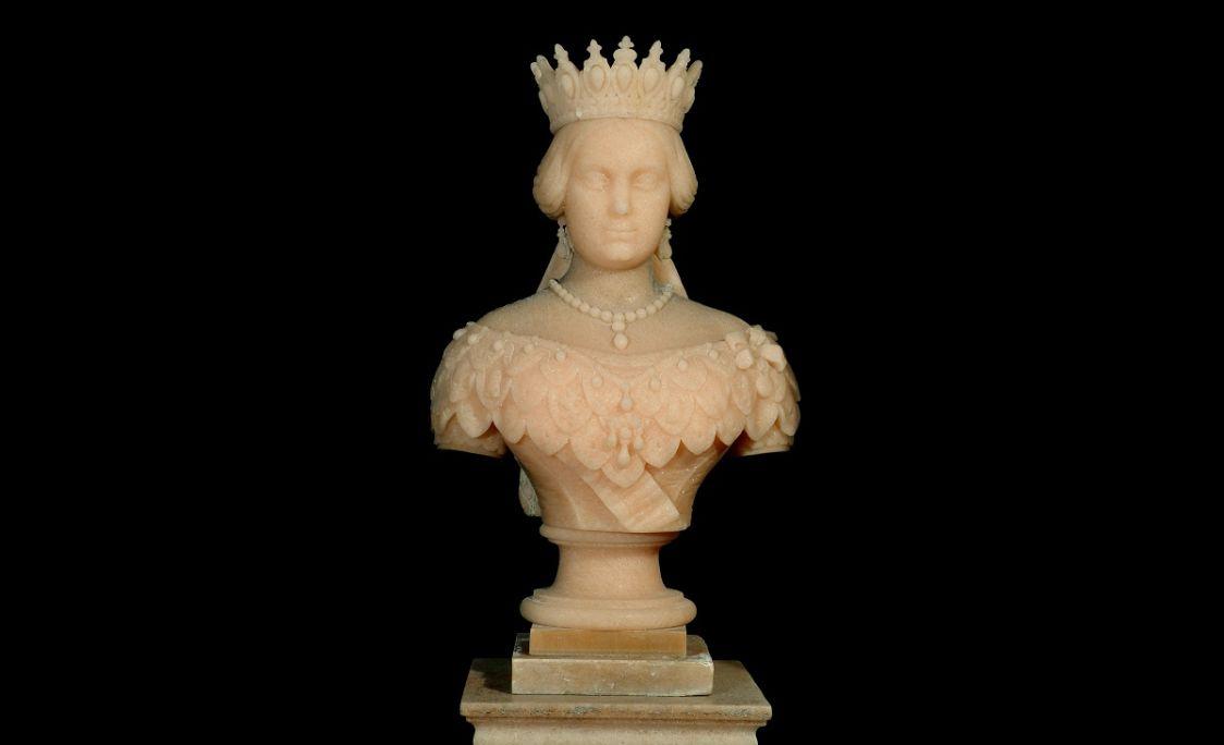 Bust de la reina Isabel II, de sal gemma, Lluís Vermell, 1860.