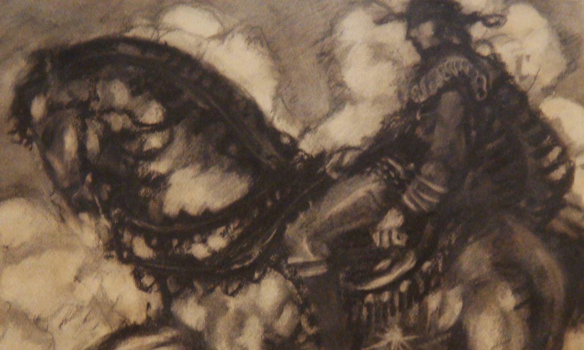 L'Explorador (The Explorer), Josep Aragay, 1912. Charcoal drawing.