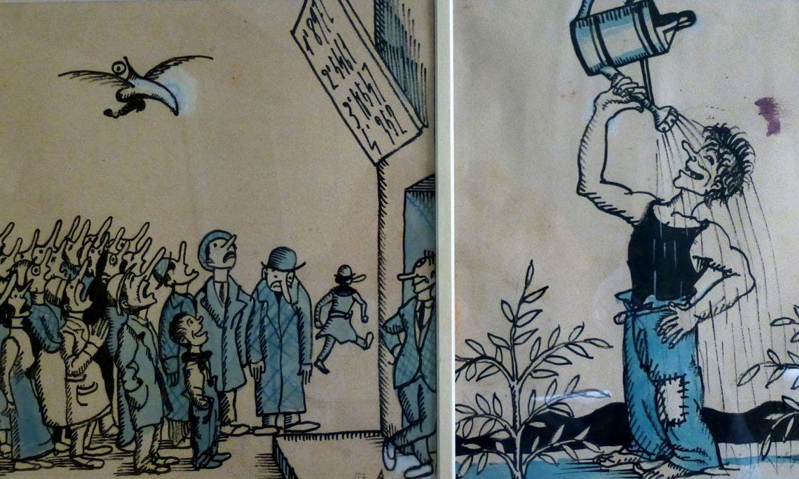 Dibuixos originals per a la revista Borinot, Josep Aragay, 1923.