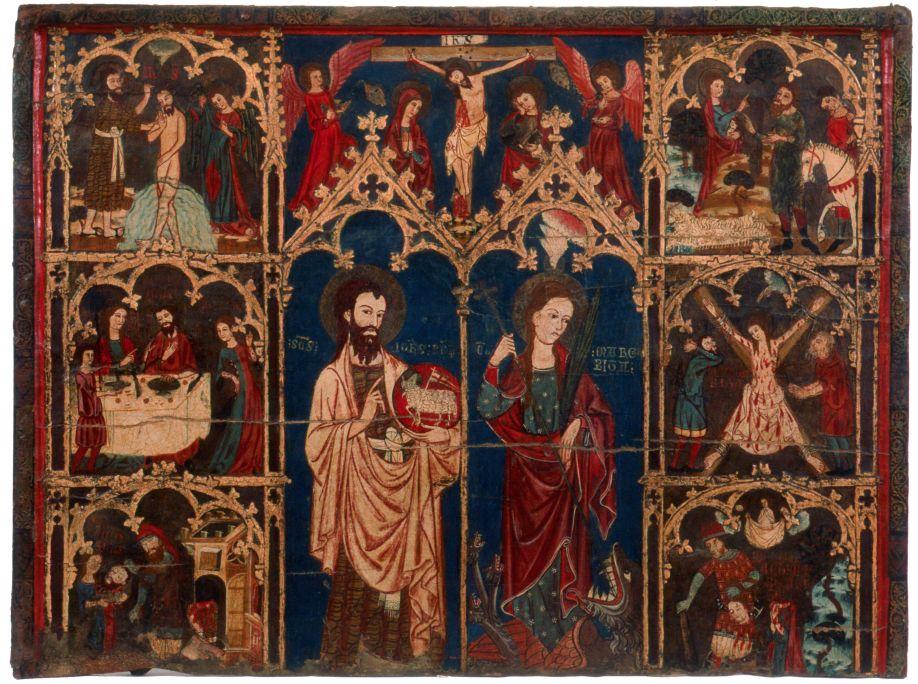 Retablo de san Juan y santa Margarita de Antioquía. Procedente de la iglesia antigua de Alcover.