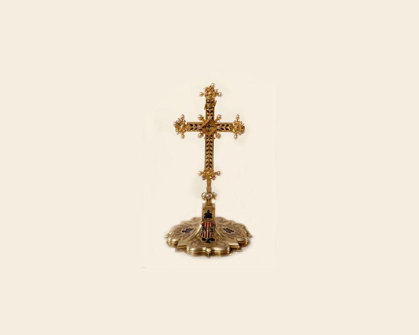 Creu reliquiari de l'arquebisbe Pere de Cardona. Atribuïda a Pere Joan Palau.