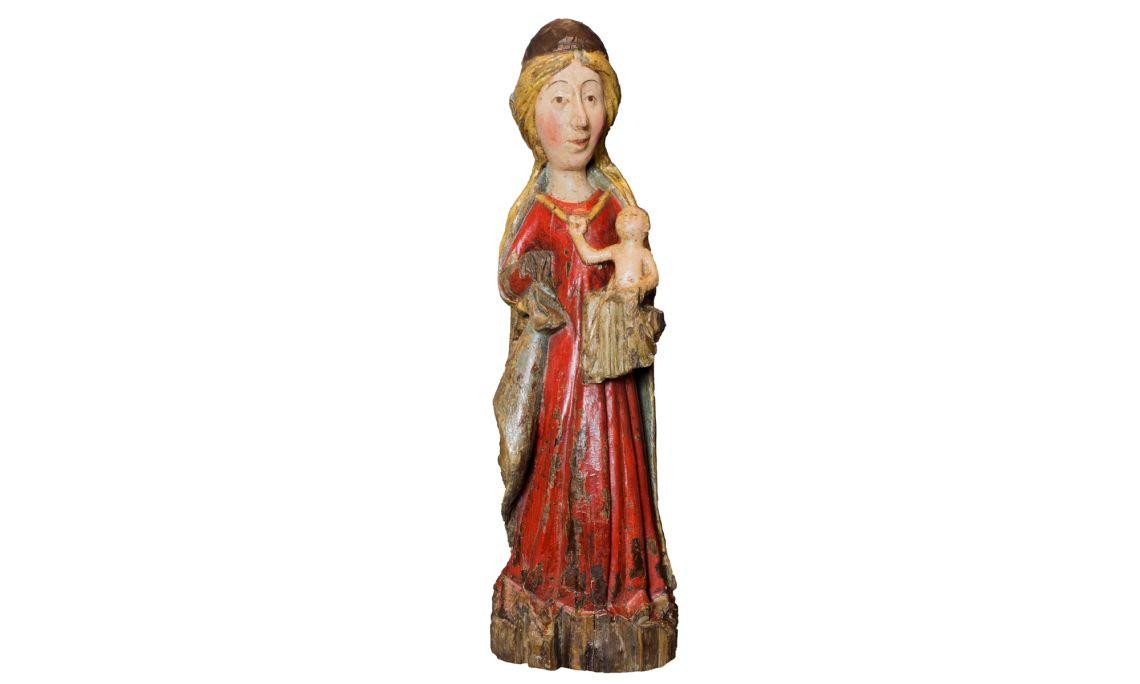 Virgen con el niño. Madera policromada y dorada. SigloXIV. Fotografía: Martí Artalejo.