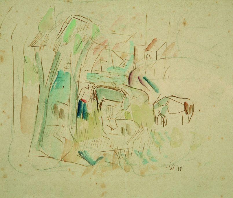 Paisatge amb vaques, Manolo Cano de Castro, s. d., aquarel·la i tinta sobre paper, 14,5 × 17 cm