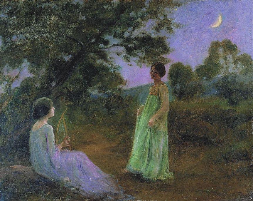 Paisaje nocturno con dos muchachas, Joan Brull i Vinyoles, s. d., óleo sobre tela, 63 × 80 cm