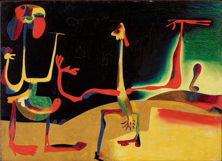 Home i dona davant d'un munt d'excrements, Joan Miró, 1935, oli damunt coure, 23 × 32 cm, Fundació Joan Miró, Barcelona. Donació de Pilar Juncosa de Miró