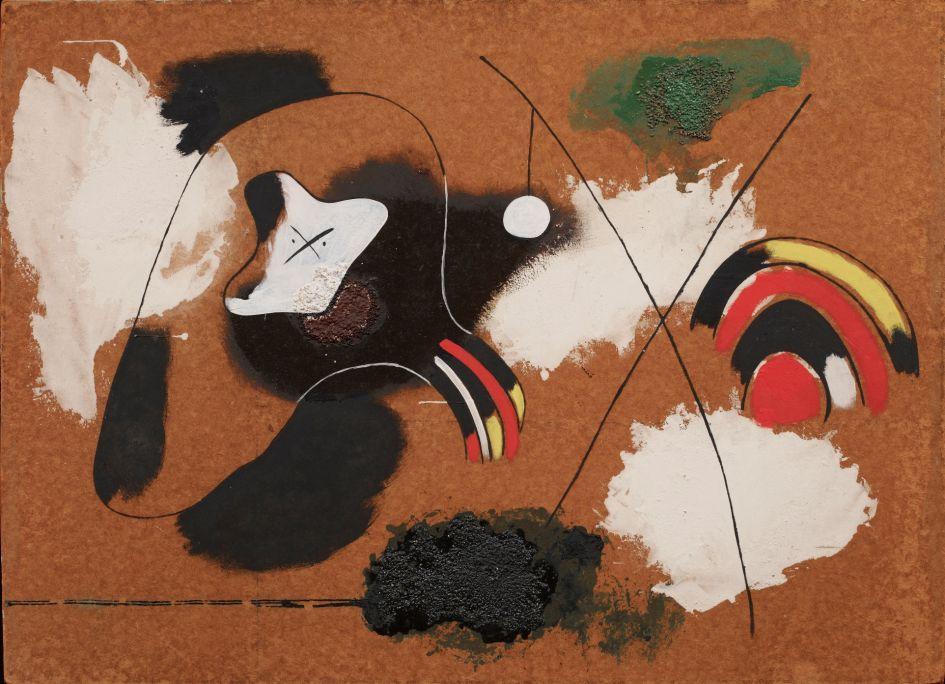 Pintura, Joan Miró, 1936, oli, quitrà, caseïna i sorra damunt masonite, 78 × 108 cm, Fundació Joan Miró, Barcelona. Donació de David Fernández Miró