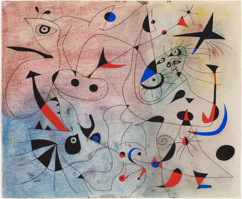 L'estel matinal, Joan Miró, 1940, guaix, oli i pastel damunt paper, 38 × 46 cm, Fundació Joan Miró, Barcelona. Donació de Pilar Juncosa de Miró