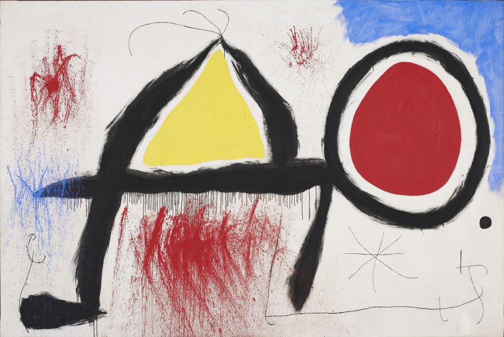 Personaje delante del sol, Joan Miró, 1968, acrílico sobre tela, 174 × 260 cm, Fundación Joan Miró, Barcelona