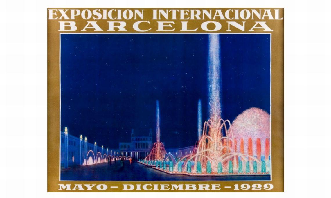 Cartell de l'Exposició Internacional de Barcelona del 1929, il·lustració de G. Amat, cromolitografia. Impremta Rieusset SA. © Xavi Olivé