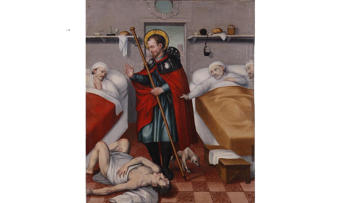 Retable de saint Roch. Saint Roch visite les malades à l'hôpital. Jaume Huguet II (père) env. 1595