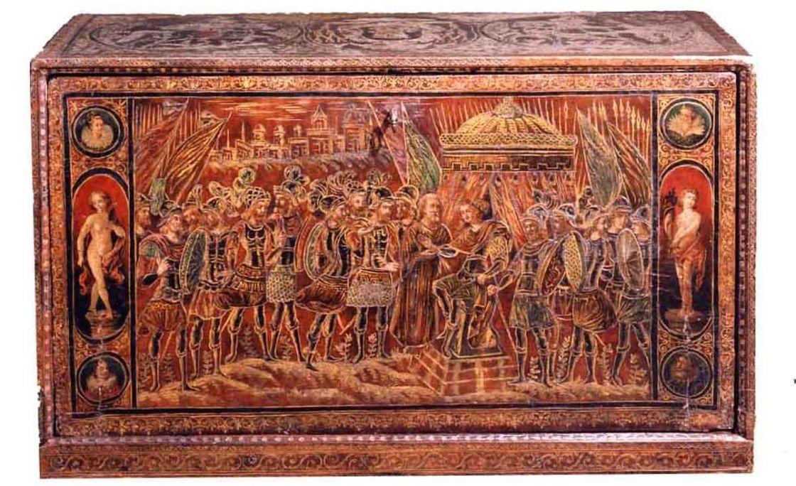 Arquimesa de la «Jerusalem alliberada», c. 1600-1610, fusta, cuir, ferros daurats i pintura, 48 × 80 × 33 cm, Itàlia-França