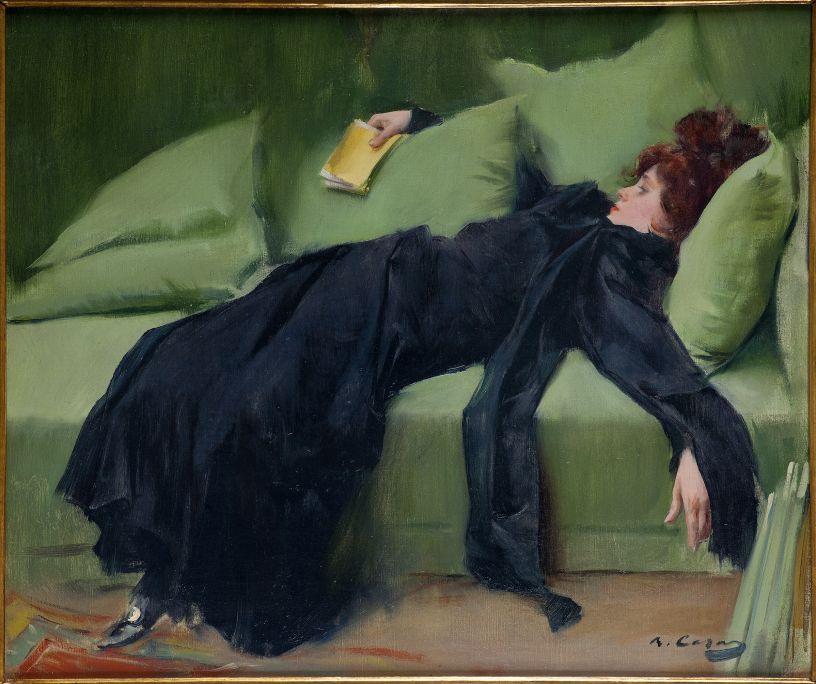 Jeune décadente. Après le bal, Ramon Casas, 1899. Huile sur toile, 46,5 × 56 cm. Don de J. Sala Ardiz.