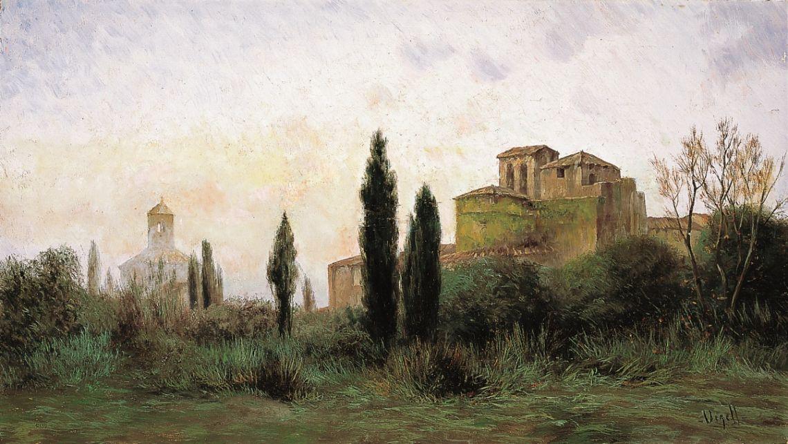 Vista de les esglésies de Sant Pere, Modest Urgell, anterior al 1894, oli sobre tela, 51,5 × 90 cm. MdT 12.13 Foto: Teresa Llordés