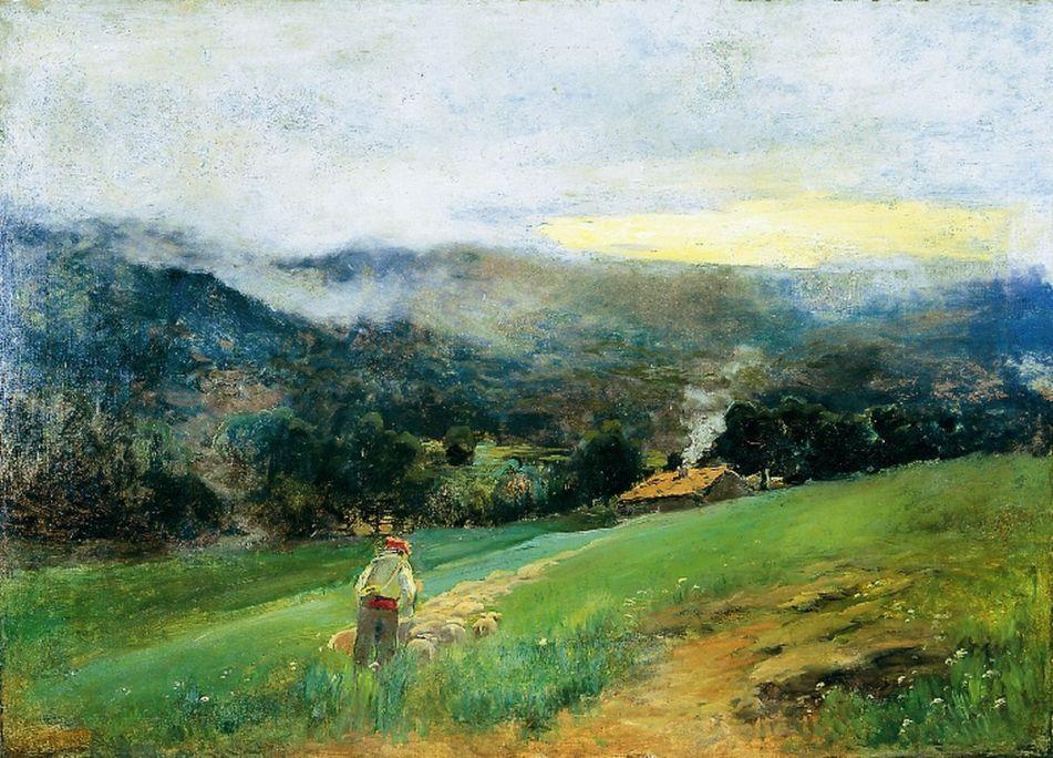Paisatge amb pastor i ramat, Joaquim Vancells i Vieta, s. d., oli sobre tela, 130 × 181 cm. MdT 1394 Foto: Teresa Llordés