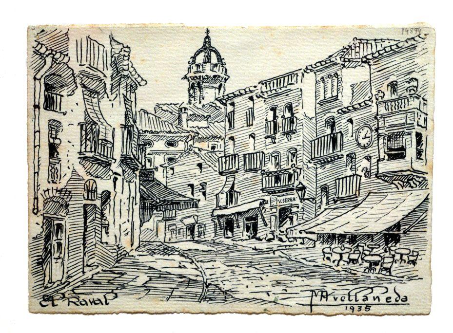El Raval, Mateu Avellaneda Cañadell, 1935, dibuix a la ploma, 12,7 × 17,5 cm. MdT 1489 Foto: Museu de Terrassa