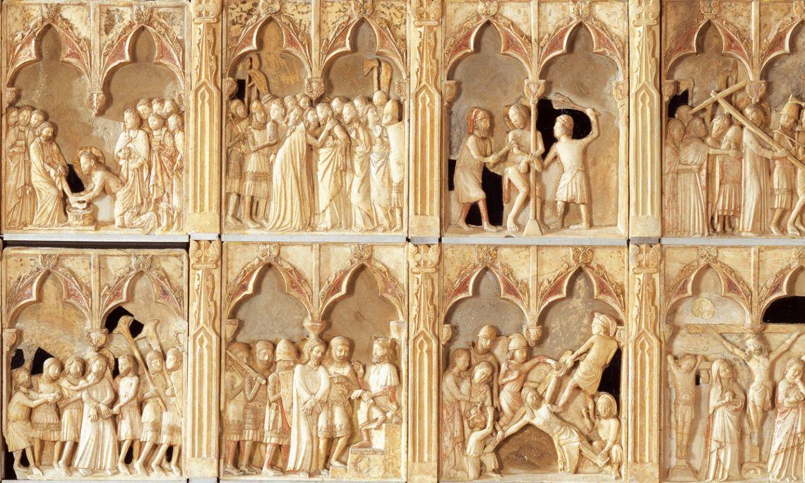 Retaule de la passió, mort, resurrecció i ascensió de Jesús, Bernat Saulet, 1341-1342