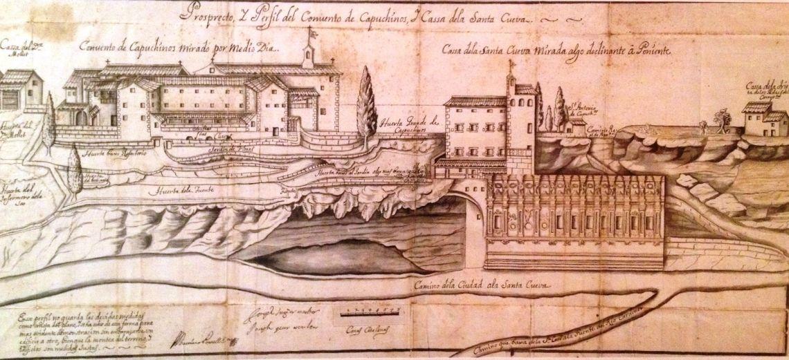 La casa i l'església de la Cova de Sant Ignasi i el convent dels Caputxins, segle XVIII, Josep Sunyer i Josep Quer (escultors), dibuix amb tinta sobre paper