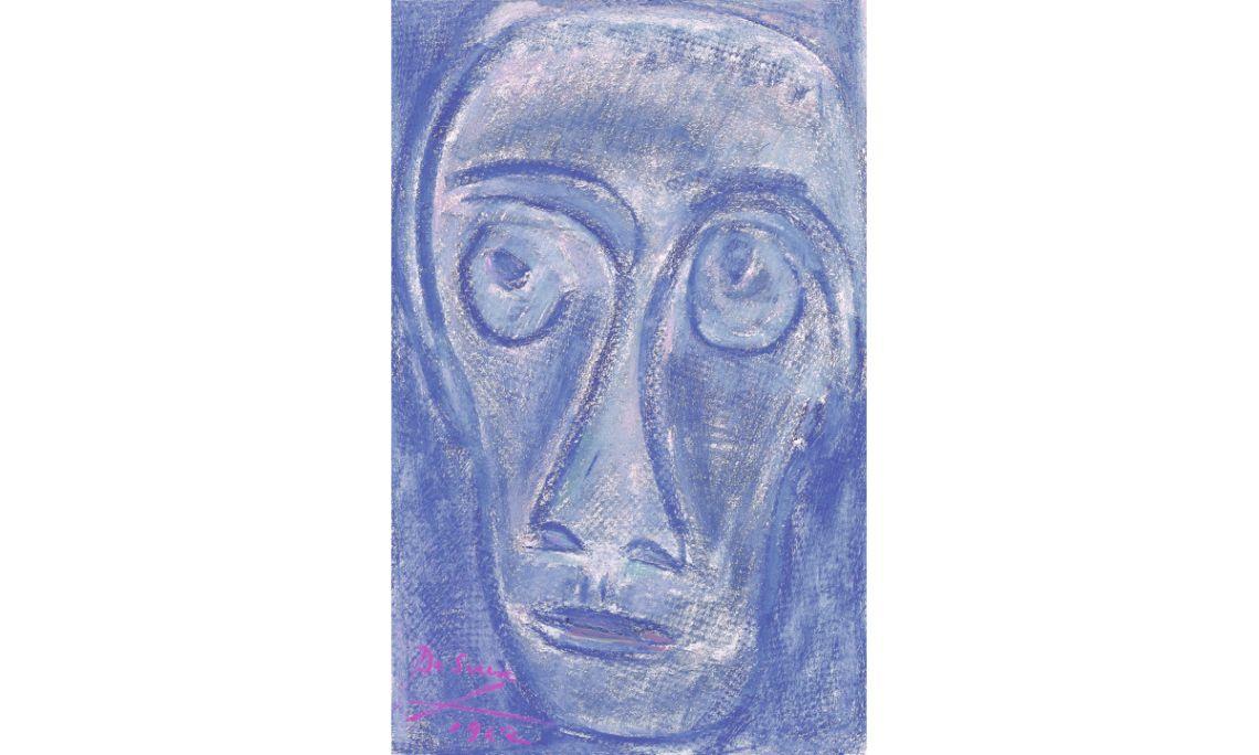 Cara d'home, Josep Maria de Sucre i de Grau, 1962, wax on paper, 69 × 43 cm