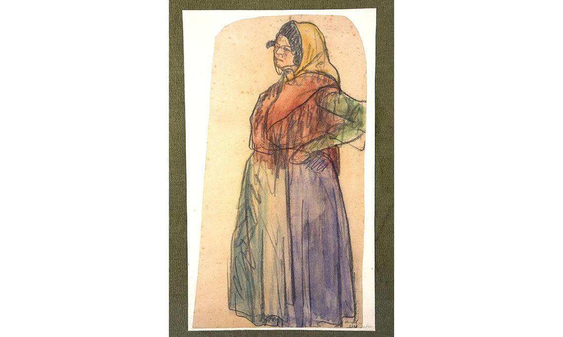 La gitana, Isidre Nonell i Monturiol, 1902, carbonet i aquarel·la sobre paper, 49 × 27 cm