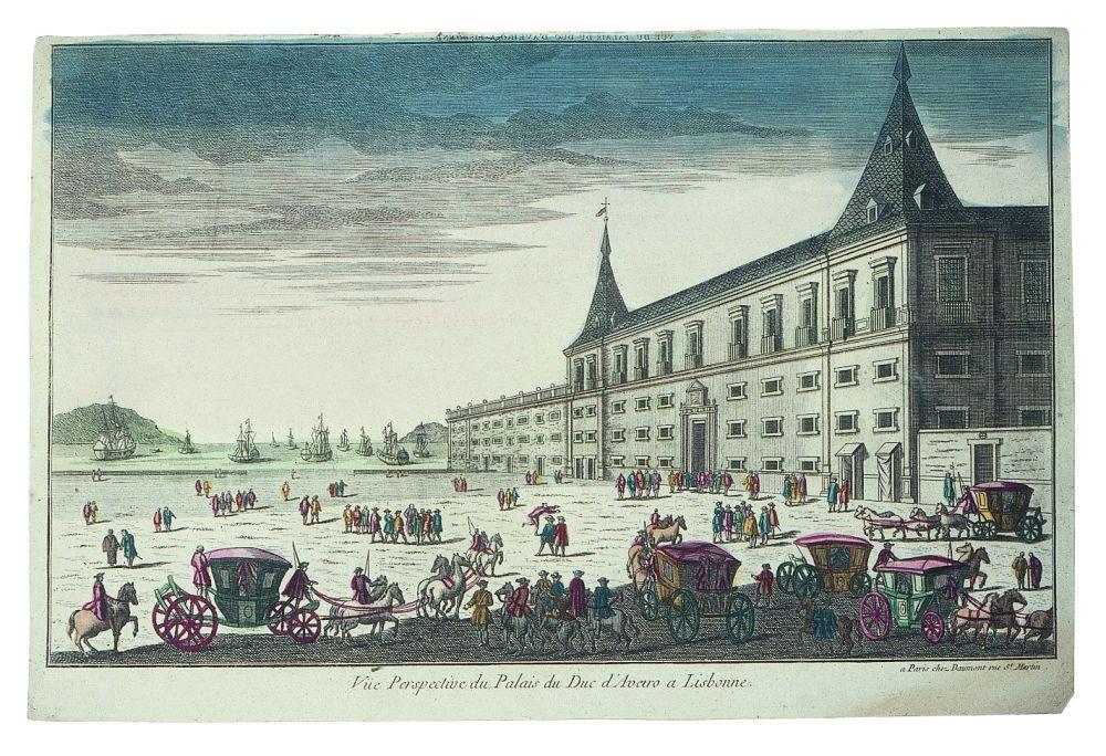 Vista óptica Vue du Palais du Duc d'Aveiro à Lisbonne, Daumont (editor), Francia, c. 1780