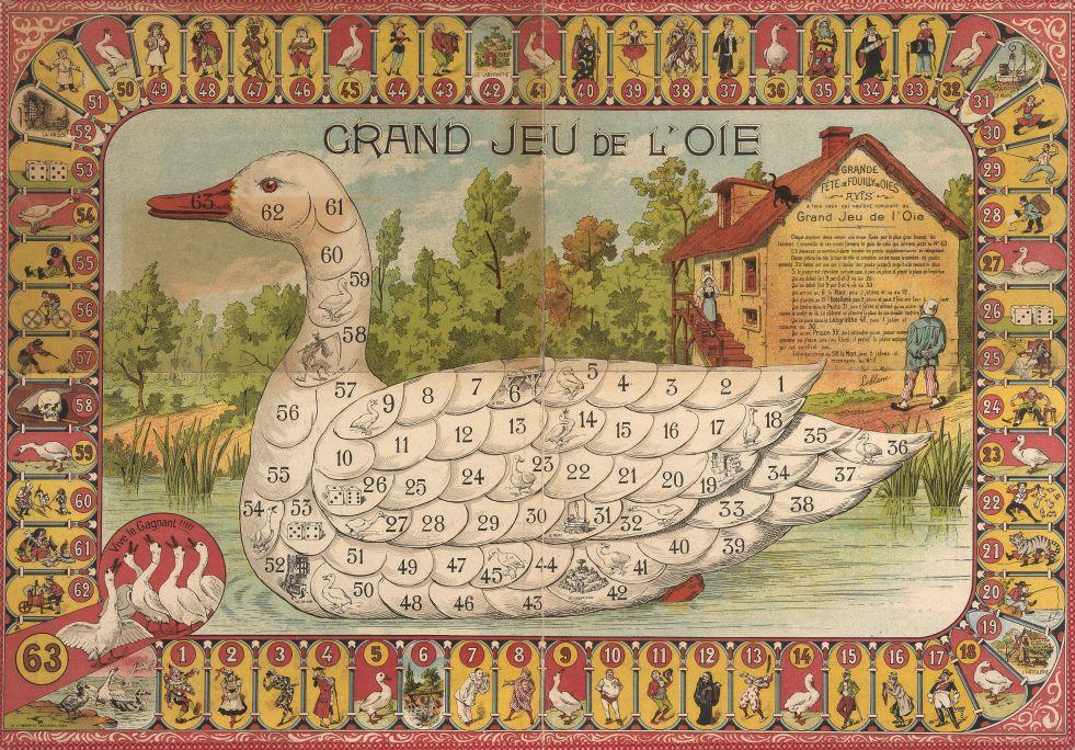 Aquest tauler va ser editat el 1890 a França, país on el Grand Jeu de l'Oie gaudeix encara avui d'una gran popularitat. Foto: © MJC