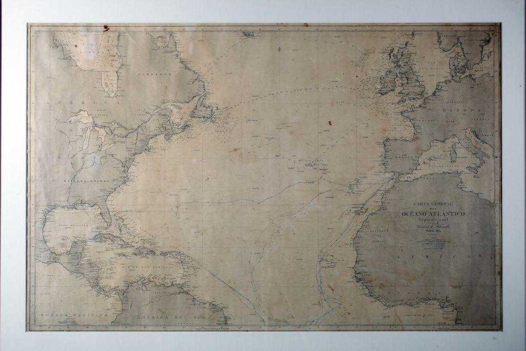 Carte nautique,1864, impression sur papier pourvue d'annotations à l'encre Direction de l'Hydrographie (Institut Hydrographique de la Marine)