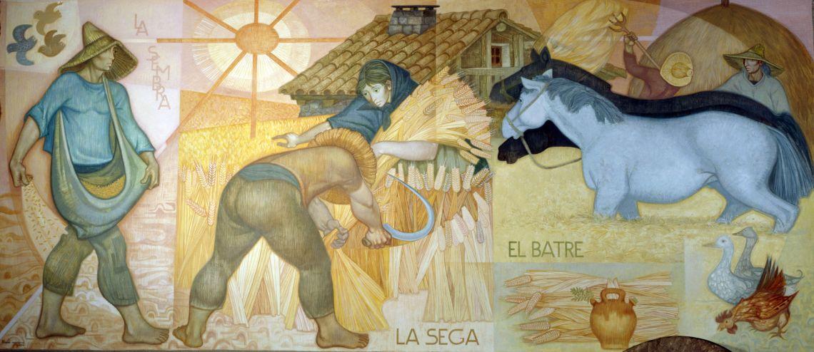 Mural que representa les diverses etapes del conreu tradicional del blat