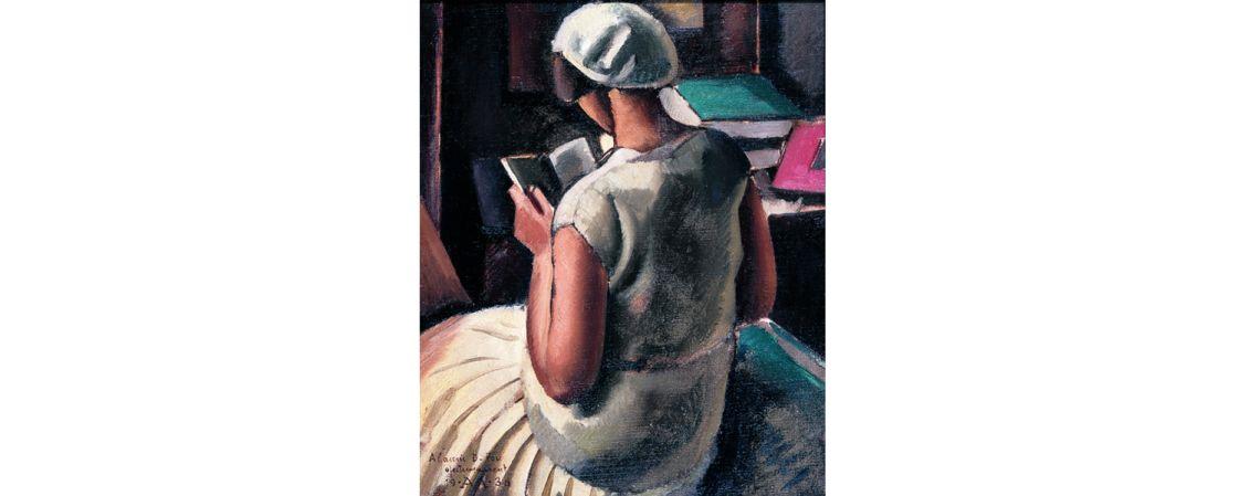 Muchacha de espaldas leyendo, Antoni Vila Arrufat, 1930, óleo sobre tela, 60 × 50 cm