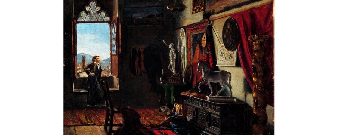 Taller del pintor Tomàs Moragas, Joan Figueras Soler, c. 1879, oli sobre tela, 64 × 47 cm