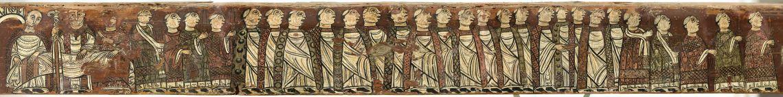 Biga de Cruïlles,cap a 1200. Pintura al tremp sobre fusta,14 × 371 × 9 cm. Monestir de Sant Miquel de Cruïlles (Baix Empordà). Museu d'Art de Girona - Fons Bisbat de Girona.