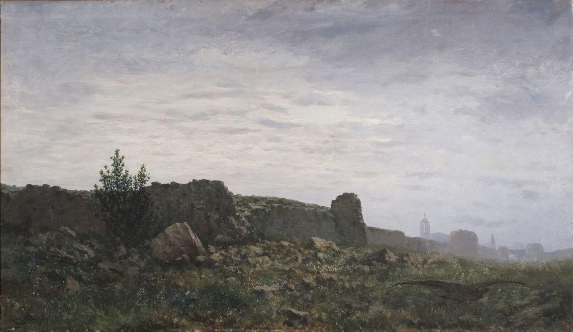 Murailles de Gérone, Modest Urgell et Inglada, vers 1871. Huile sur toile, 67,7 x 116,5 cm. Musée d'art de Gérone - Fonds d'Art de la Députation de Gérone.