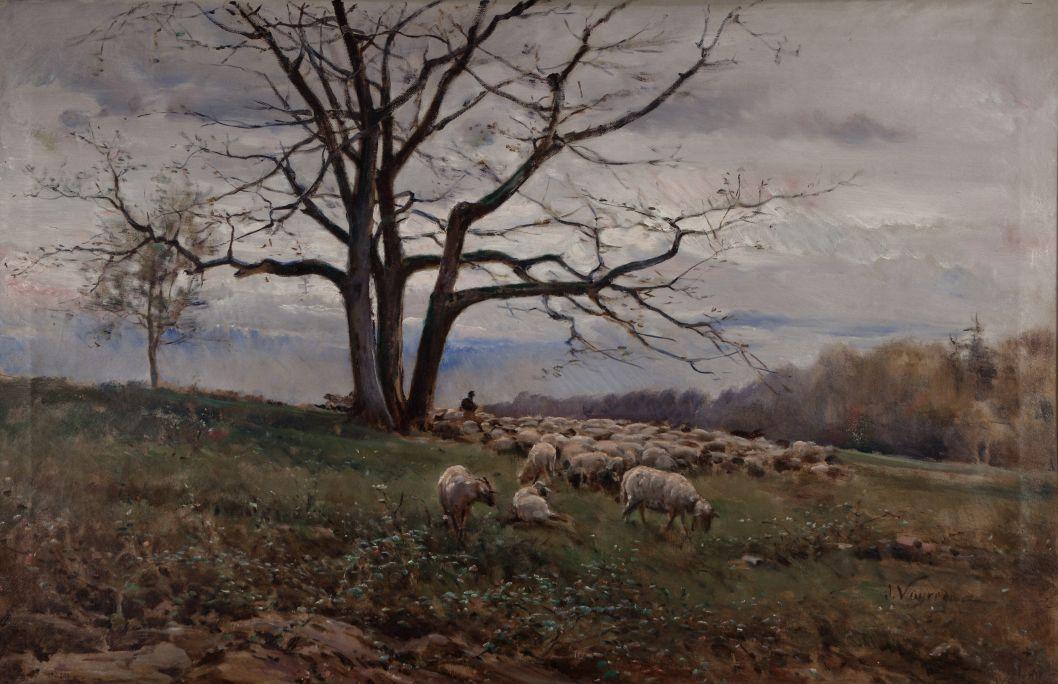 Rebaño en el prado, Joaquim Vayreda i Vila, 1881.