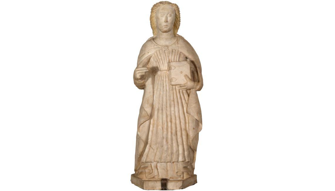 Santa Margarida, 15th century. Alabaster, 71 x 27 x 24 cm.Santa Margarida de la Cot, Santa Pau. Girona Art Museum - Bisbat de Girona collection.