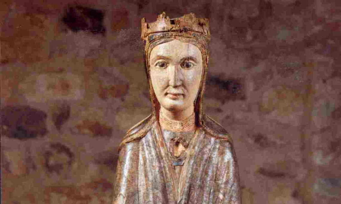Vierge à l'Enfant de Sant Cugat, XIIIe siècle, sculpture de bois polychrome, 92 x 41 x 28,5 cm. MdT 38 Photo: Musée de Terrassa