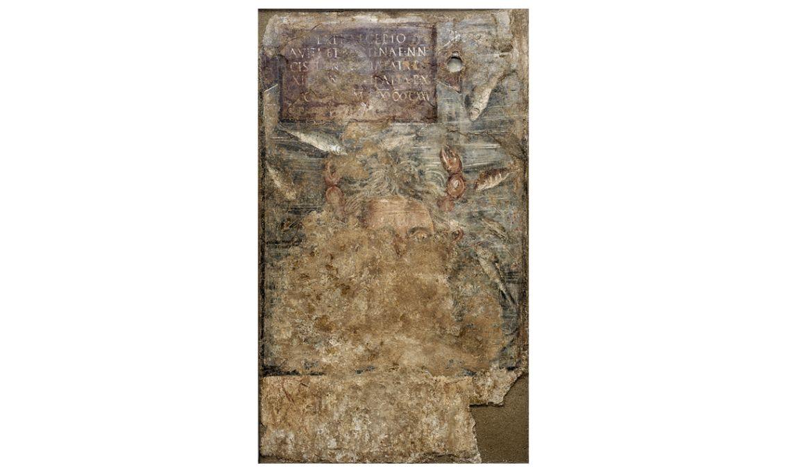 Peinture avec inscription et représentation du dieuOcéan, IIe siècle ap. J.-C., 160 × 94,5cm.