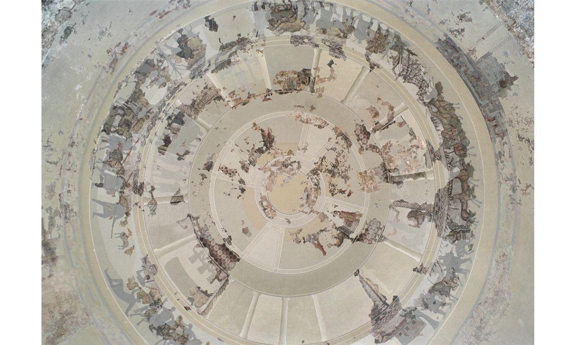 Vista general de la cúpula de mosaico de la villa de Centcelles.