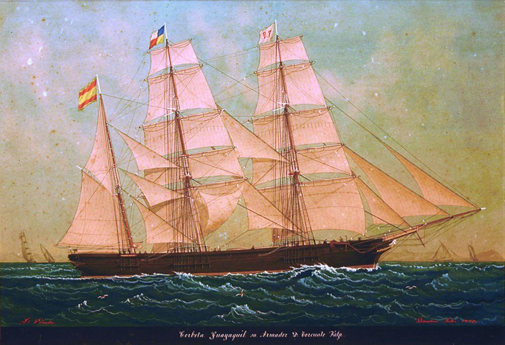 Corbeta «Guayaquil», Josep Pineda Guerra, 1892, pintura sobre papel