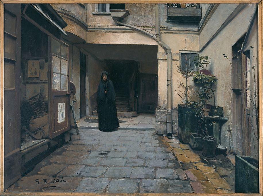 Santiago Rusiñol, La casa de préstecs, 1889, París, oli sobre tela