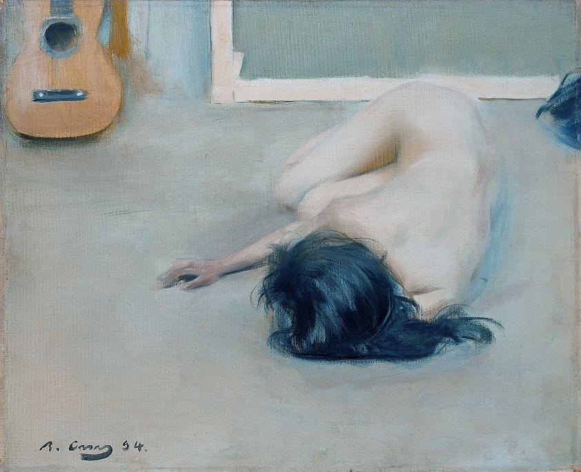 Ramon Casas, Desnudo con guitarra, 1894, óleo sobre lienzo