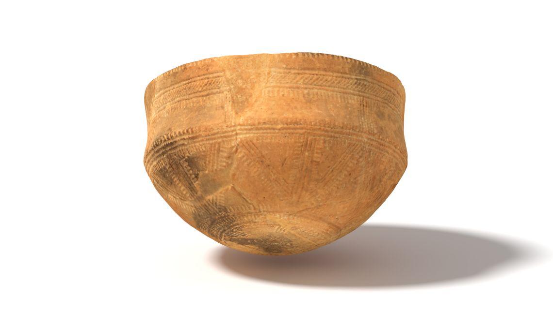 Tassa epicampaniforme datada entre el 2200 i el 1800 aC. Procedeix del jaciment de la Riba (Sant Just Desvern).