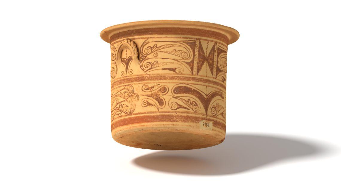 Cálato de cerámica ibérica datado en el siglo iiia.C. y procedente del sudeste de la península ibérica.