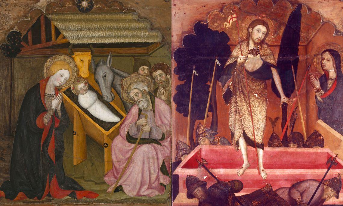 Nativitat i Resurrecció, Pere Serra, església parroquial de Sant Pere de Cubells (Noguera, Lleida), c. 1400, Catalunya, tremp sobre fusta. Col·l. Dr. Jesús Pérez-Rosales